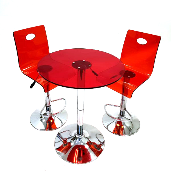 Red Acrylic Table & Stool Set