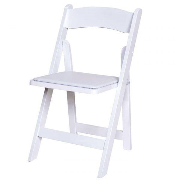 EX HIRE White Wooden Folding Chairs - BE Furniture Sales