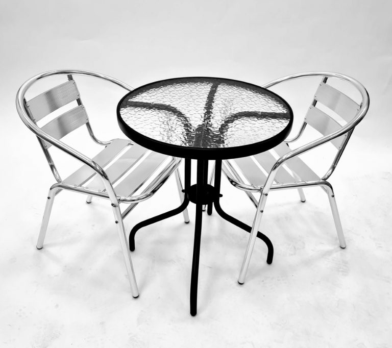 Round Glass Table & 2 Aluminium Chairs - BE Furniture Sales