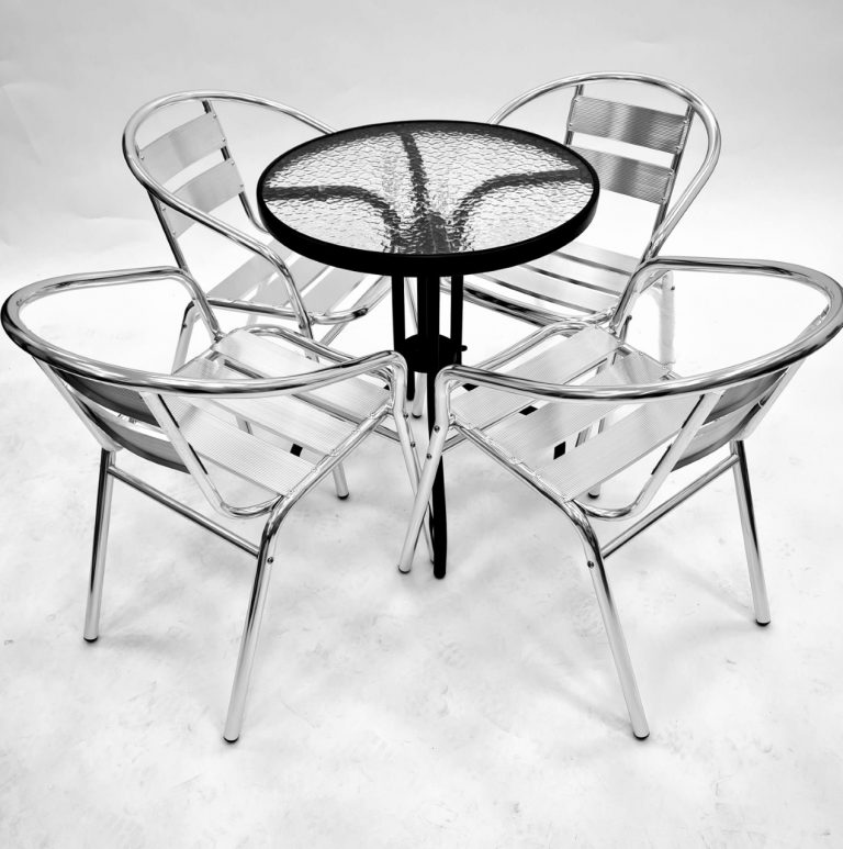 Round Glass Table & 4 Aluminium Chairs - BE Furniture Sales
