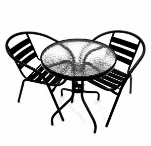 2 x Black Steel Chairs & Glass Garden Table - BE Furniture Sales