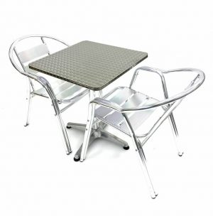 2 Aluminium Double Tube Chairs & Square Aluminium Pedestal Table - BE Furniture Sales