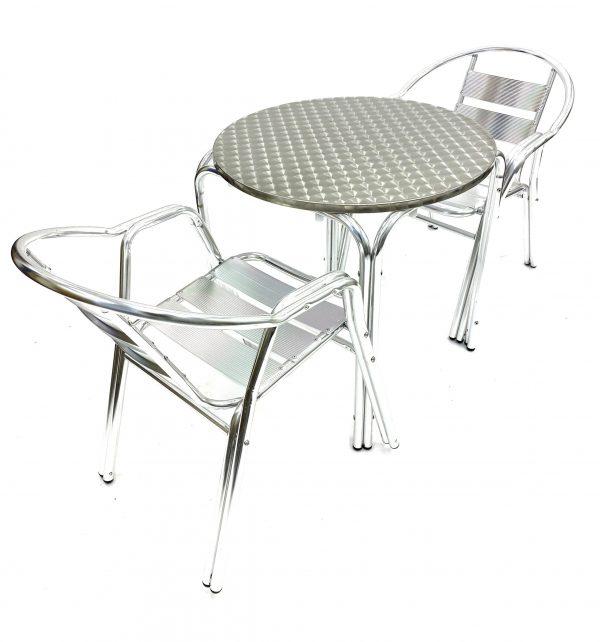 2 Aluminium Double Tube Garden Chairs & Round Aluminium Table - BE Furniture Sales
