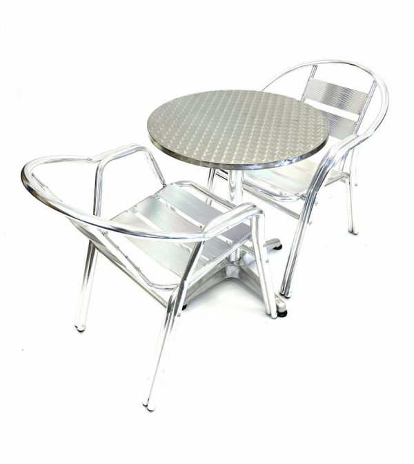 Aluminium Balcony Sets with 2 Double Tube Chairs & Round Aluminium Pedestal Table - BE Furniture Sales