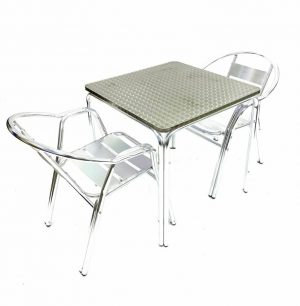 2 Double Tube Chairs & Square Stacking Aluminium Table Set - BE Furniture Sales