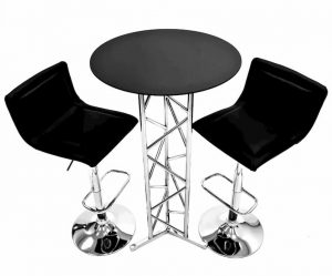 2 x Black Leather Bar Stools & Chatsworth Bar Table - BE Furniture Sales
