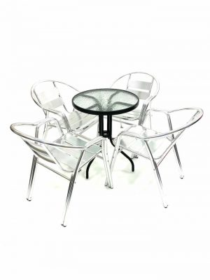 Aluminium Garden Sets with 4 Double Tube Chairs plus Round Glass Table - BE Furniture Sales