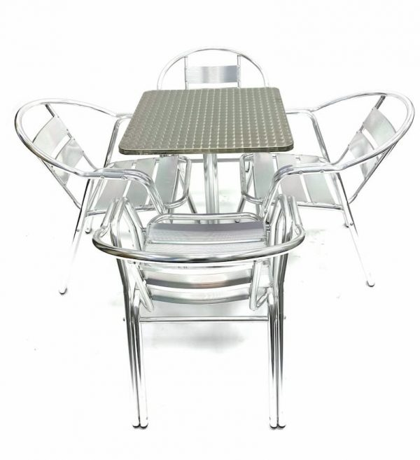 4 Double Tube Aluminium Chairs & Square Aluminium Pedestal Table - BE Furniture Sales
