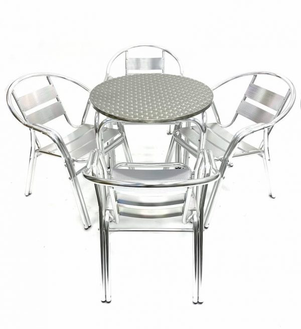 4 Double Tube Chairs & Round Aluminium Table - BE Furniture Sales