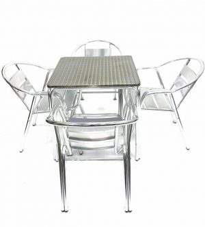 4 Double Tube Chairs & Square Stacking Aluminium Table Set - BE Furniture Sales