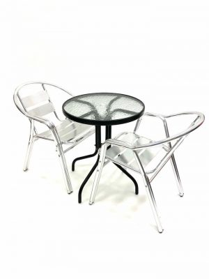 3 Piece Double Tube Garden Sets with Round Glass Table - BE Furniture Sales