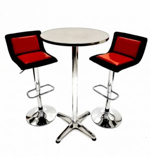 2 x Black, Red Faux Leather Bar Stools & Aluminium Bar Table - BE Furniture Sales