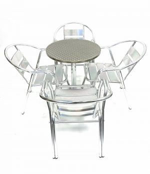 Aluminium Set with 4 Double Tube Chairs & Round Pedestal Table - BE Furniture Sales