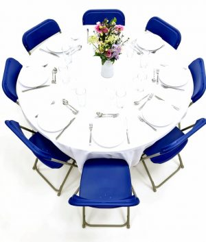 Folding Blue Chairs & Table Dining Sets - BE Furniture Sales