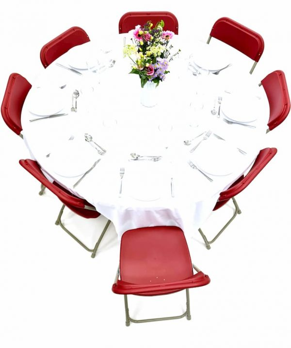 Folding Red Chairs & Table Dining Sets - BE Furniture Sales