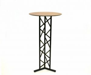 What is a poseur table? - Black Metal & Oak Poseur Table - BE Furniture Sales
