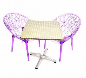 2 x Purple Tree Chairs & 60 cm Aluminium Square Table Sets - BE Furniture Sales
