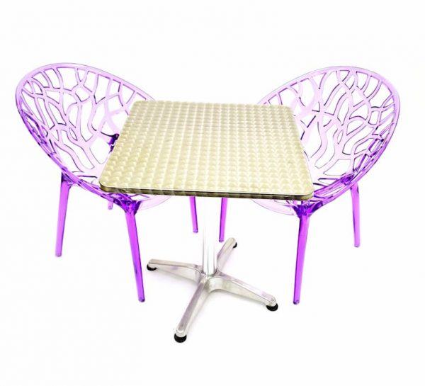 2 x Purple Tree Chairs & 60 cm Aluminium Square Table Sets - BE Furniture Sales