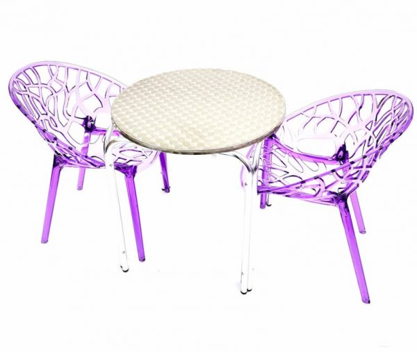2 x Purple Tree Chairs & 70 cm Aluminium Round Table Sets - BE Furniture Sales