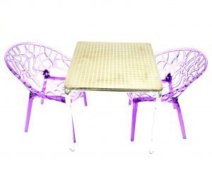 2 x Purple Tree Chairs & 70 cm Aluminium Square Table Sets - BE Furniture Sales