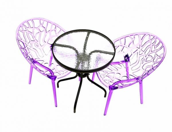 2 x Purple Tree Chairs & Round Glass Table Set - BE Furniture Sales
