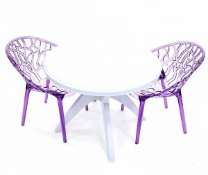 2 x Purple Umbria Chairs & 90 cm White Plastic Table - BE Furniture Sales
