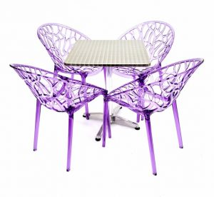 4 x Purple Tree Chairs & 60 cm Aluminium Square Table Sets - BE Furniture Sales