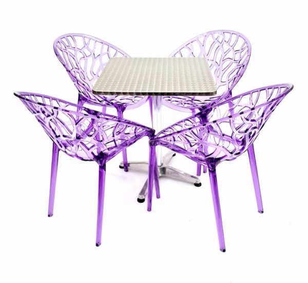 4 x Purple Tree Chairs & 60 cm Aluminium Square Table Sets - BE Furniture Sales