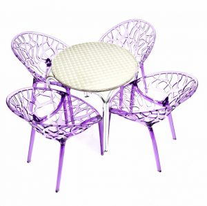 4 x Purple Tree Chairs & Aluminium Round Table Sets - BE Furniture Sales