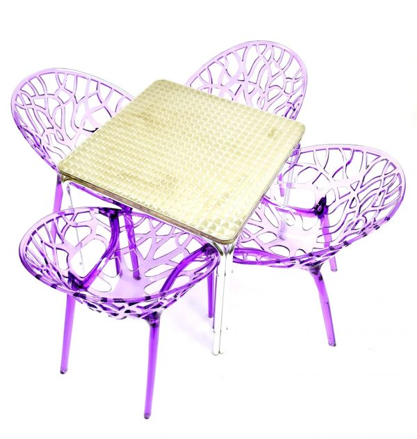 4 x Purple Tree Chairs & Aluminium Square Table Sets - BE Furniture Sales