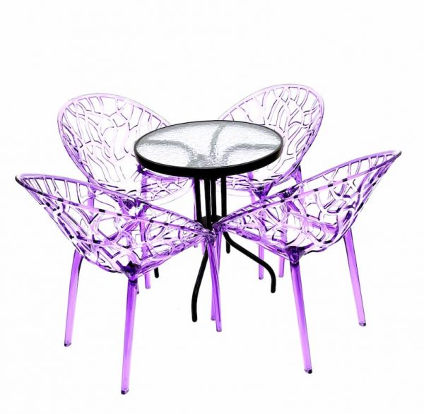 4 x Purple Tree Chairs & Round Glass Table Set - BE Furniture Sales