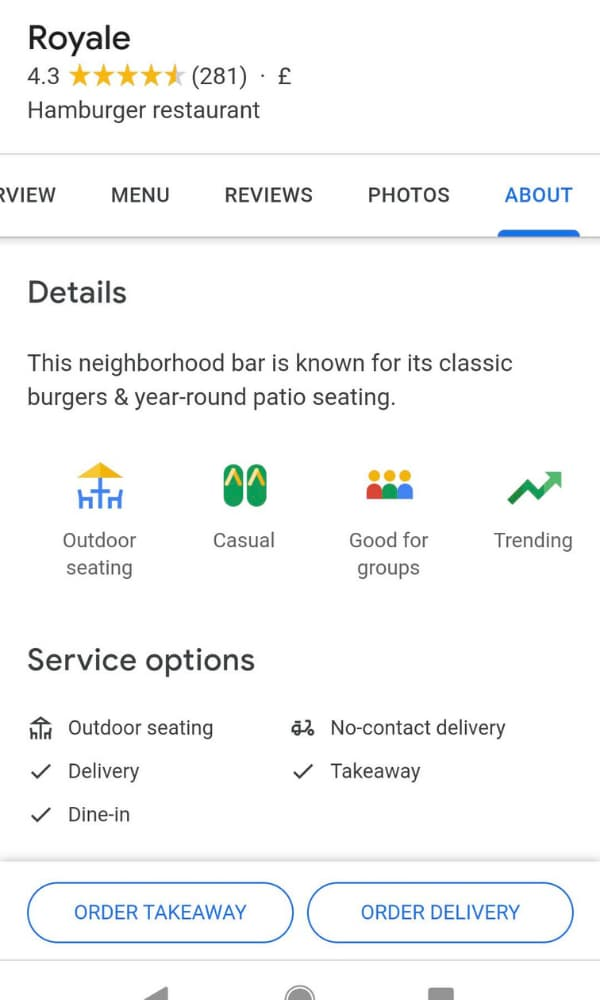 Outdoor Seating Google My Business Listing Attribute - BE Furniture Sales