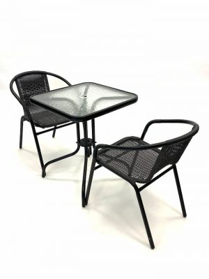 2 Black Framed Rattan Chairs & 1 Square Glass Table Set - BE Furniture Sales