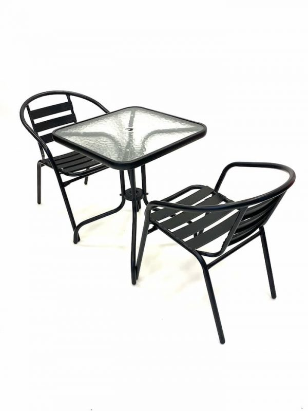 2 x Black Steel Chairs & Square Glass Garden Table - BE Furniture Sales
