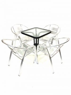 4 Aluminium Double Tube Chairs plus Square Glass Table - BE Furniture Sales