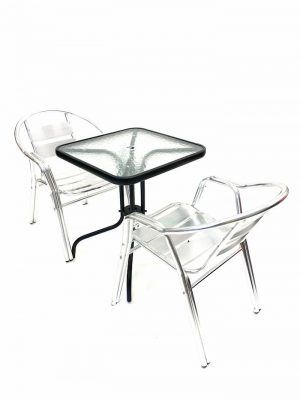 2 Double Tube Aluminium Chairs plus Square Glass Table - BE Furniture Sales