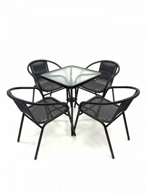 Black Framed Rattan Garden Set with Square Glass Table - BE Furniture Sales