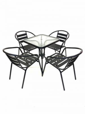 4 x Black Steel Chairs & Square Glass Garden Table - BE Furniture Sales