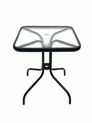 Square Glass Garden Table - Black Frame, 60cm x 60cm - BE Furniture Sales